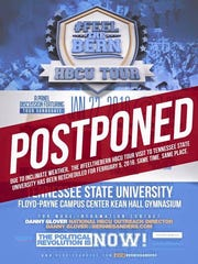 A Bernie Sanders rally originally set for Tennessee State University in Nashville is now canceled and rescheduled because of weather.