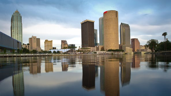 A view of the business district of Tampa.