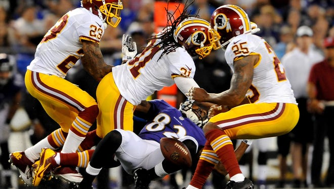 Redskins S Brandon Meriweather (31) has been disciplined by the NFL a half-dozen times for illegal hits.