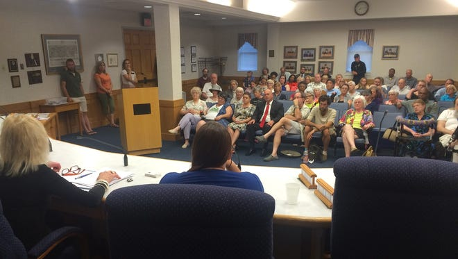 Former inmate Kelly Chaplin and Nancy Insco and T-Ann Johnson of the On the Wings of Angels Re-Entry program lead a News Leader-sponsored re-entry conversation Wednesday evening at Staunton City Hall.