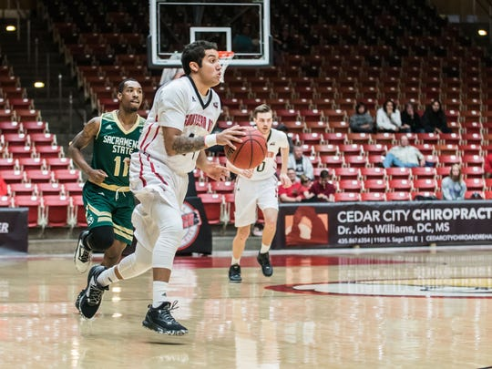 James McGee dribbles during Southern Utah's 77-74 over