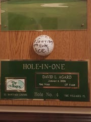 In addition to conducting the BC Pops, David Agard was an avid golfer and received this plaque for scoring a hole-in-one.