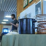 Derek Dellinger speaks to his class about home brewing at Fishkill Farms in Hopewell Junction.