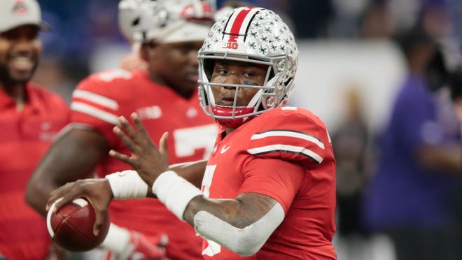Ohio State quarterback Dwayne Haskins warms up for the team's Big Ten championship NCAA college football game against Northwestern on Saturday, Dec. 1, 2018, in Indianapolis. (AP Photo/AJ Mast)