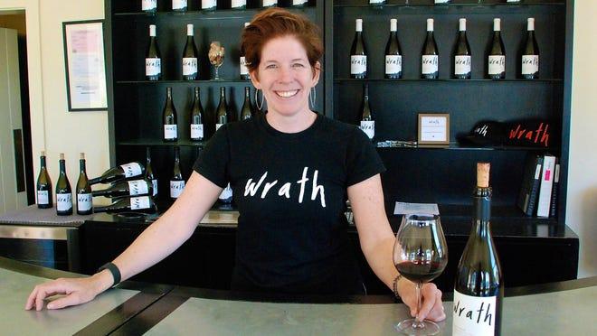 Winemaker Sabrine Rodems stands inside the tasting room at Wrath Wines, 35801 Foothill Road, Soledad. The winery also has a tasting room in Carmel.
