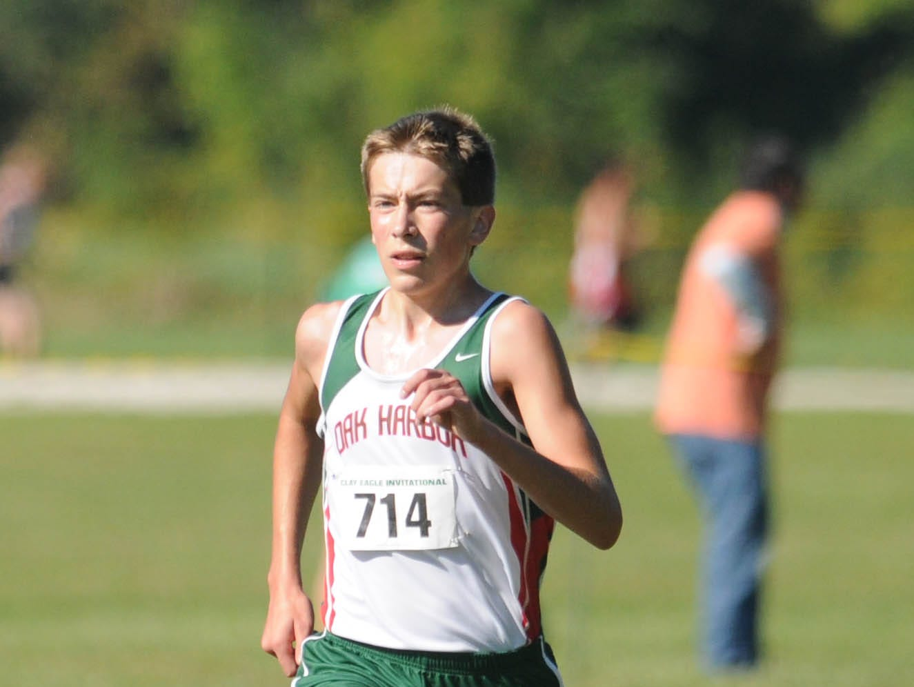 Oak Harbor's Jake Wistinghausen competes in a cross country invitational meet as a junior. He missed his junior track season and most of the next because of his struggle with Crohn's disease. Now, he currently is among the top two-milers in the region.