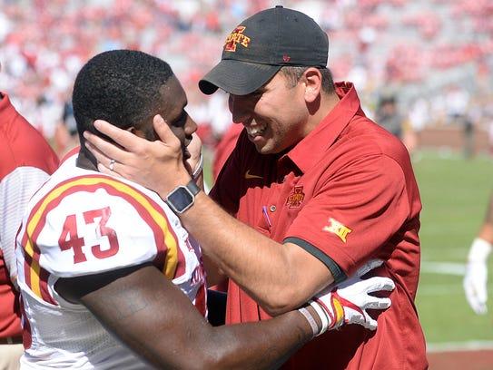 Iowa State head coach Matt Campbell celebrates with