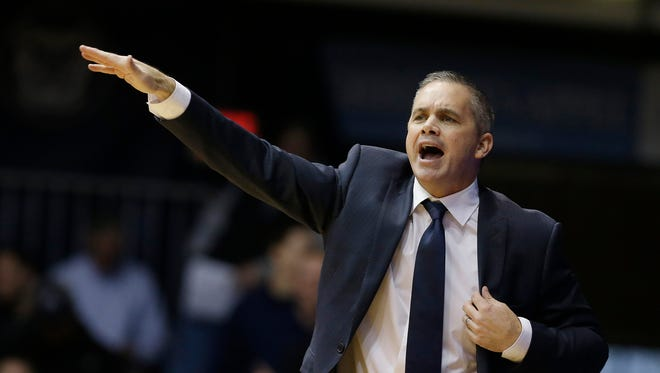 Butler head coach Chris Holtmann shouts instructions during the Bulldogs' loss to Providence, Dec. 31, 2015.
