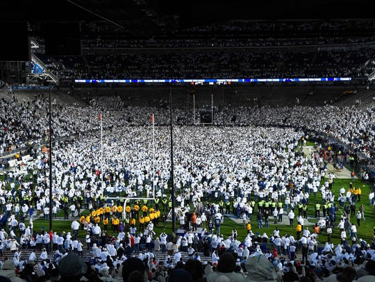 The last time Penn State's white out crowd got together was to celebrate the stunning 24-21 upset of Ohio State last October. Now, the favored Lions will play Michigan under the white lights Saturday night.