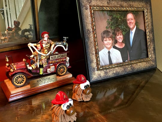 A specially made fire truck and family portrait rest