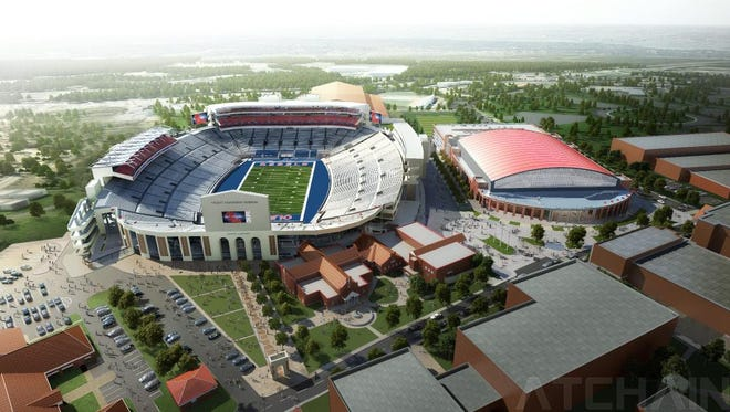 An artist's rendering of the new Vaught-Hemingway Stadium renovations, to be finished for the 2016 season.