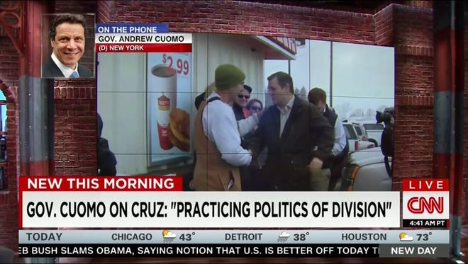 Gov. Andrew Cuomo on CNN on Friday, Jan. 15, discussing presidential candidate Ted Cruz