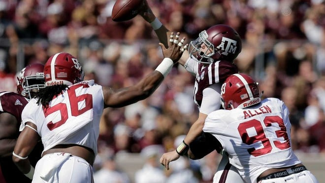 ESPN NFL analyst Mel Kiper Jr. said Monday that Alabama senior Tim Williams, left, would have been a top-five pick had he entered the 2016 NFL draft.