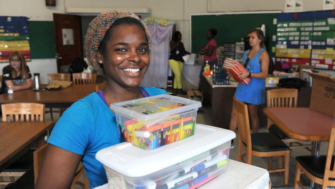 A longtime community volunteer, Jasmine Whiteside has enjoyed being able to help others again — inicluding getting classrooms ready for students at Hawkins Elementary in Hattiesburg.