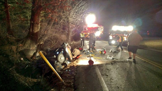 A car crashed on South Salem Church Road in Dover Township Saturday night, injuring one person.