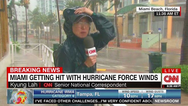 CNN Senior National Correspondent Kyung Lah reporting on Hurricane Irma in Miami Beach, Fla., Sept. 10, 2017.