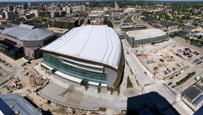 - Arena progression progress timelapse time lapse bucks  -  ( Photo is for a future time-lapse progression of the new arena BUT available for use if needed. ) -  ROOF - Construction is nearly complete at the site of the future new arena in Milwaukee where the Milwaukee Bucks will play. The $524 million arena, which has been built with $250 million in taxpayer support, is scheduled to open in late summer. Photo taken from the top of the Moderne apartment and condo building on Monday, June 4, 2018.-  Photo by Mike De Sisti / Milwaukee Journal Sentinel