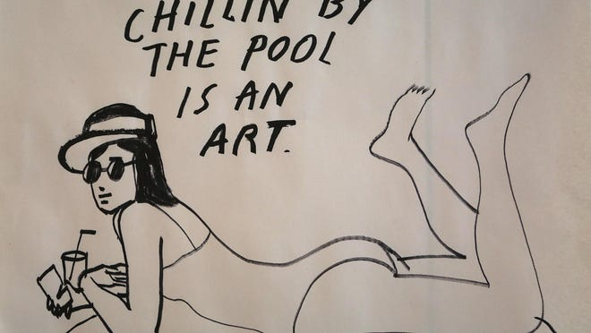 """A postcard design during a """"Summer School"""" postcard art workshop with Artist Jean Andre at the Ace Hotel in Palm Springs on July 19, 2014."""