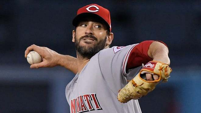 Cincinnati Reds starting pitcher Matt Harvey throws during the first inning of the team's baseball game against the Los Angeles Dodgers on Friday, May 11, 2018, in Los Angeles. (AP Photo/Mark J. Terrill)