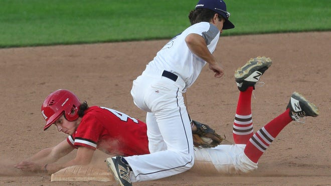 Kent Roosevelt's Zach Holman, bottom, safely steals second as Hudson's Nicholas Teodosio fails to make the tag in time during the fourth inning of a baseball game at Canal Park, Saturday, July 25, 2020, in Akron, Ohio.