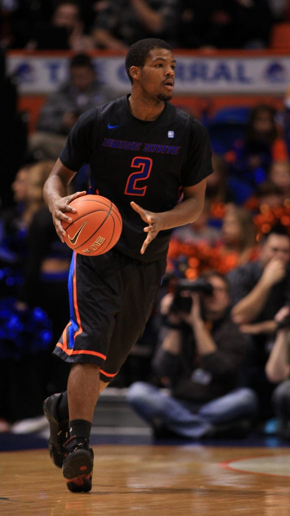 Boise State Broncos guard Derrick Marks (2) during the first half against the New Mexico Lobos at Taco Bell Arena.