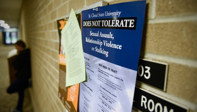 A poster outlining the St. Cloud State University policy on sexual violence hangs Wednesday, Oct. 26, in the university administration building.