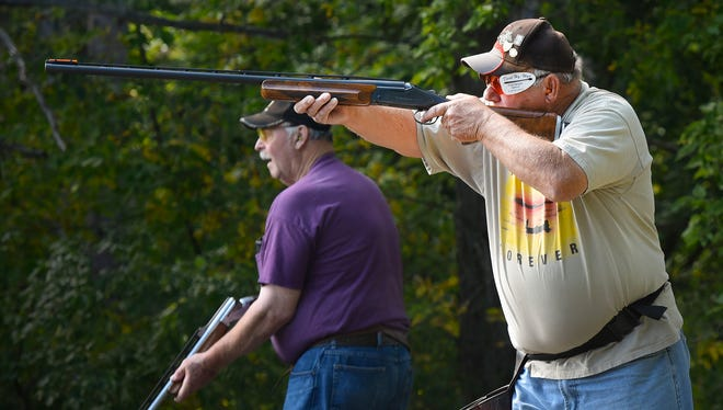 Chuck Eckstein, Brooklyn Park, takes a shot at a clay pigeon during the Hasty-Silver Creek Sportsmen's trap shoot event Monday, Sept. 4, in Silver Creek.