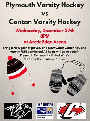 The Dec. 27 Plymouth-Canton hockey game at Arctic Edge will give fans a chance to help the needy.