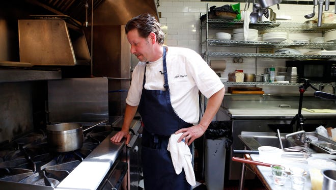 Chef Jeff Kaufman makes crabmeat tater tots at Hudson House. The newfangled tots were originally a side dish, but were so popular, they are now offered as a dish on their own.