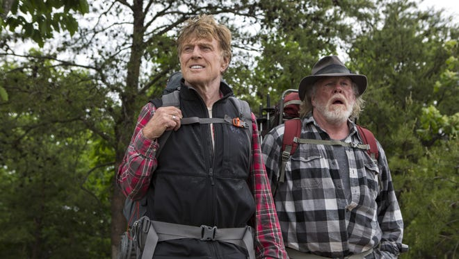 """Robert Redford stars as Bill Bryson and Nick Nolte as Stephen Katz in """"A Walk in the Woods."""""""