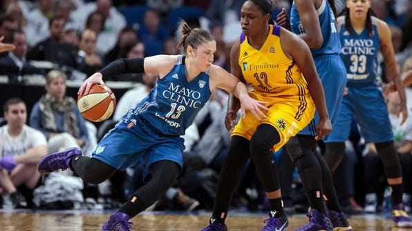 Oct 9, 2016; Minneapolis, MN, USA; Minnesota Lynx guard Lindsay Whalen (13) dribbles in the fourth quarter against the Los Angeles Sparks guard Chelsea Gray (12) in game one of the WNBA Finals. at Target Center. The Los Angeles Sparks beat the Minnesota Lynx 78-76. Mandatory Credit: Brad Rempel-USA TODAY Sports ORG XMIT: USATSI-337408 ORIG FILE ID:  20161009_tdc_ai9_170.JPG
