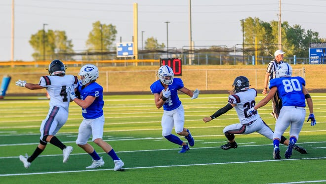 Goddard receiver Jake Shope has had a huge season in a breakout year this year. Shope already has 29 catches for 496 yards and eight touchdowns.