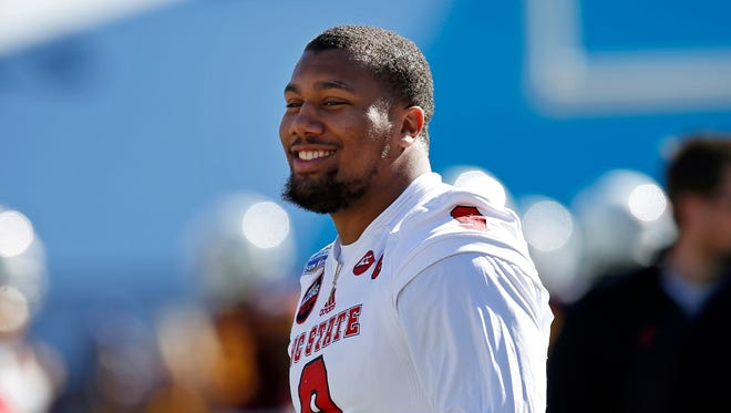 North Carolina State defensive end Bradley Chubb smiles before the start of the Sun Bowl NCAA college football game against Arizona State in El Paso, Texas, Friday, Dec. 29, 2017.