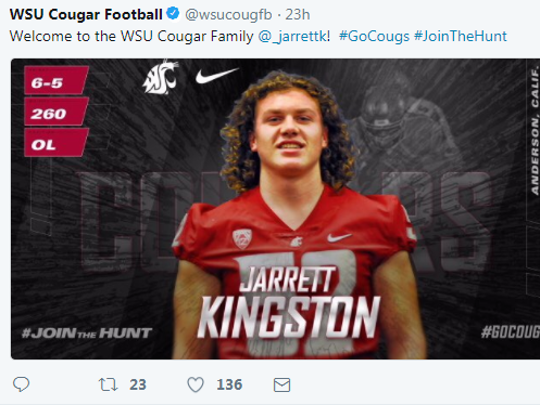 "The Washington State University football program on Wednesday tweeted this image of Anderson's Jarrett Kingston to celebrate his signing. ""Welcome to the WSU Cougar Family,"" it says."