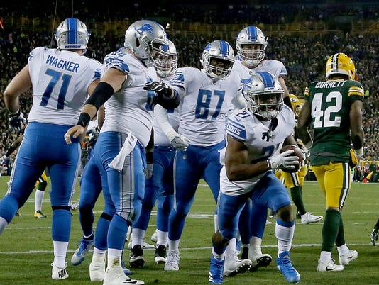 Detroit Lions at Green Bay Packers, lions celebrate