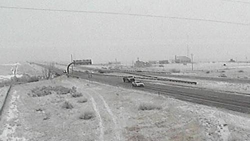 CDOT camera shows winter conditions on I-25 near the Wyoming border Wednesday afternoon, Jan. 7, 2015.