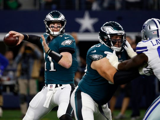 Carson Wentz will lead the Eagles against the Seahawks on Sunday.