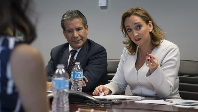 Mexico's Secretary of Foreign Affairs, Claudia Ruiz Massieu (right) answers questions, June 24, 2016, in the Editorial Board room at the Arizona Republic.