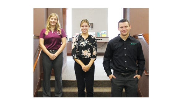 New employees at First Security Bank, from left: Jamie Fischer, MacKenna Fischer, and Austin Thordson.