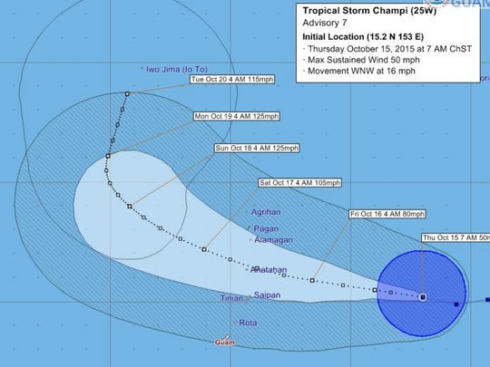 Forecast tracking graphic for Tropical Storm Champi,