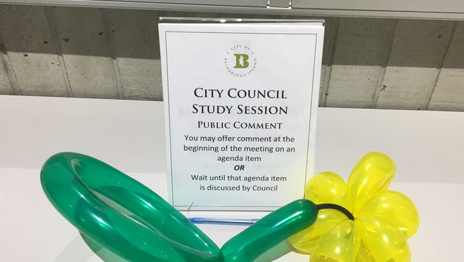 A balloon artist left a public comment in support of balloons at Tuesday night's Bainbridge Island City Council meeting.