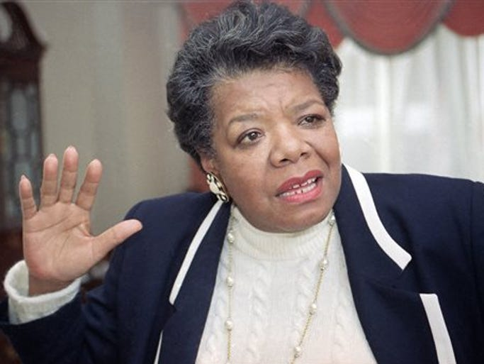 FILE - In this Dec. 15 1992 file photo, American poet and writer Maya Angelou speaks in Washington, D.C. Angelou, a Renaissance woman and cultural pioneer, has died, Wake Forest University said in a statement Wednesday, May 28, 2014. She was 86. (AP Photo/Doug Mills, File)