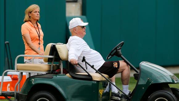 Cincinnati Bengals owner Mike Brown and his daughter,