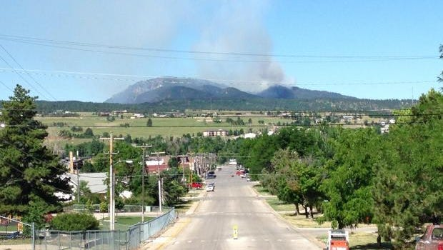 Crews battle the Crow Peak forest fire west of Spearfish.