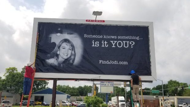 Jodi Huisentruit went missing on her way to work June 27, 1995, at station KIMT in Mason City. Family and friends hope the billboards will bring new clues to the investigation.