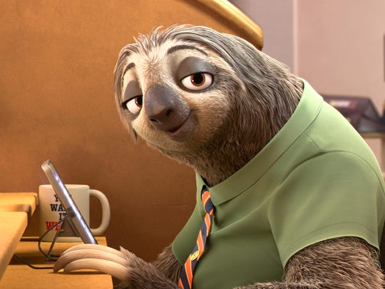 "Flash, a sloth in the animated motion picture ""Zootopia."""