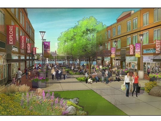 A shopping center surrounding a public plaza is a central part of the plans for Waukee's Kettlestone development.