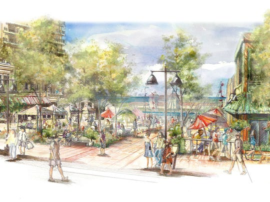 As Port of Rochester development progresses, Edgewater Resources proposes building a town green stretching between Lake Avenue and North River Street. Given the change in elevation, the green would have two levels, with one having a lawn and, in the winter, an ice rink, with room for vendor tents.