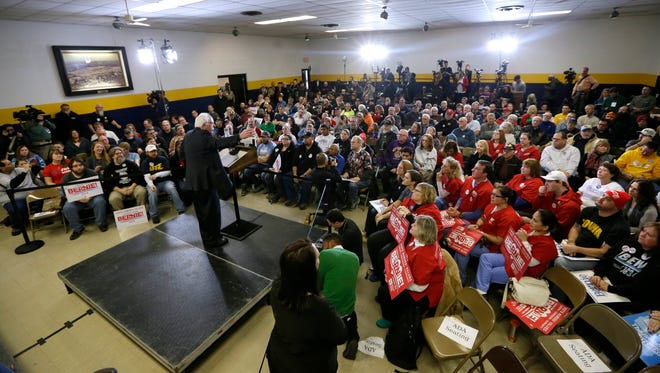Democratic presidential candidate, Sen. Bernie Sanders, I-Vt., speaks during a stop Tuesday at the United Steelworkers Local 310L union hall in Des Moines, Iowa.