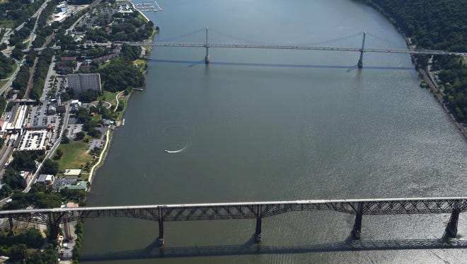 The Hudson River, as well as the Mid-Hudson Bridge and the Walkway Over the Hudson, is pictured in this August 2016 photo.